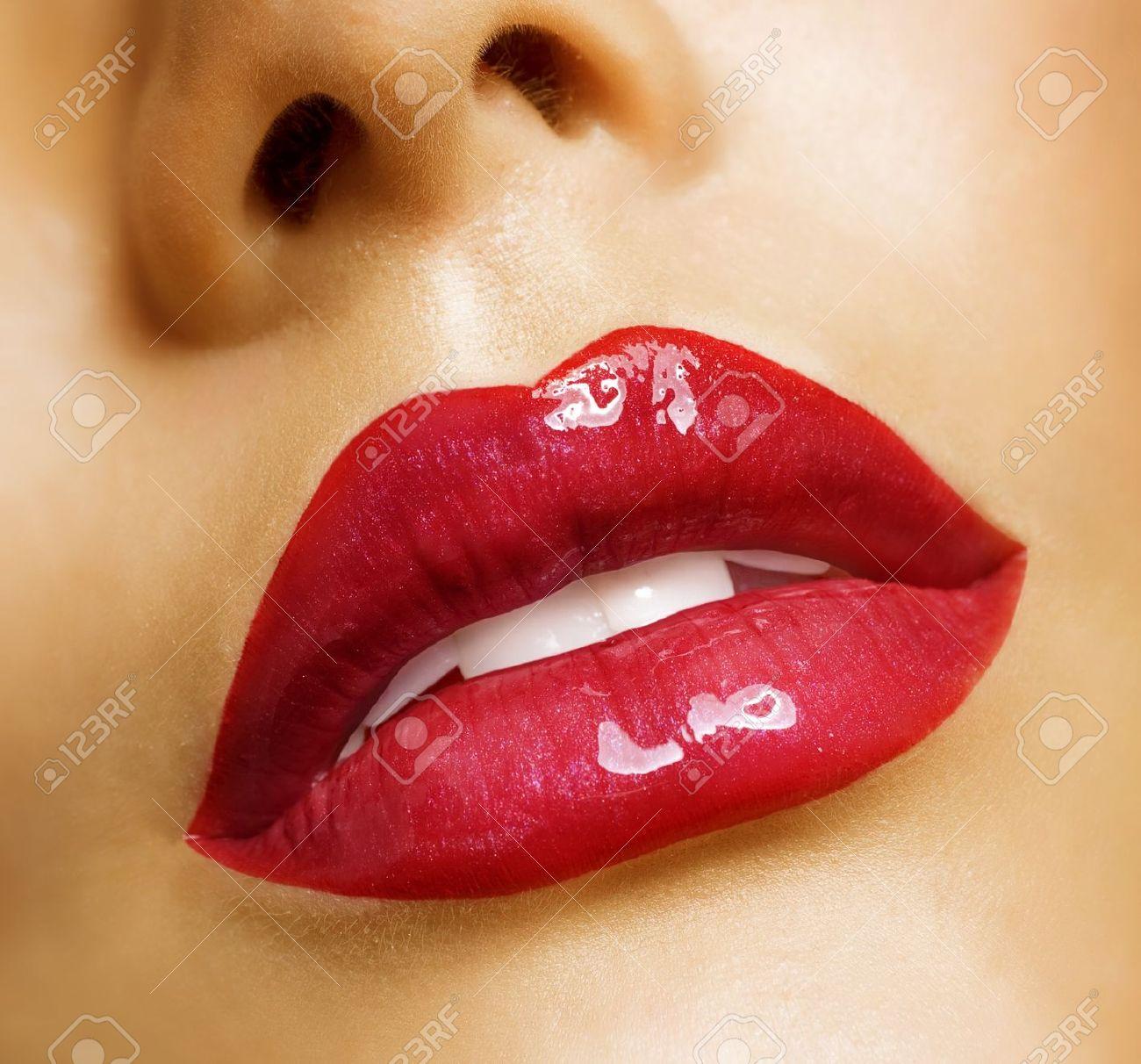 Sensual mouth. Red lipstick Stock Photo - 9539615