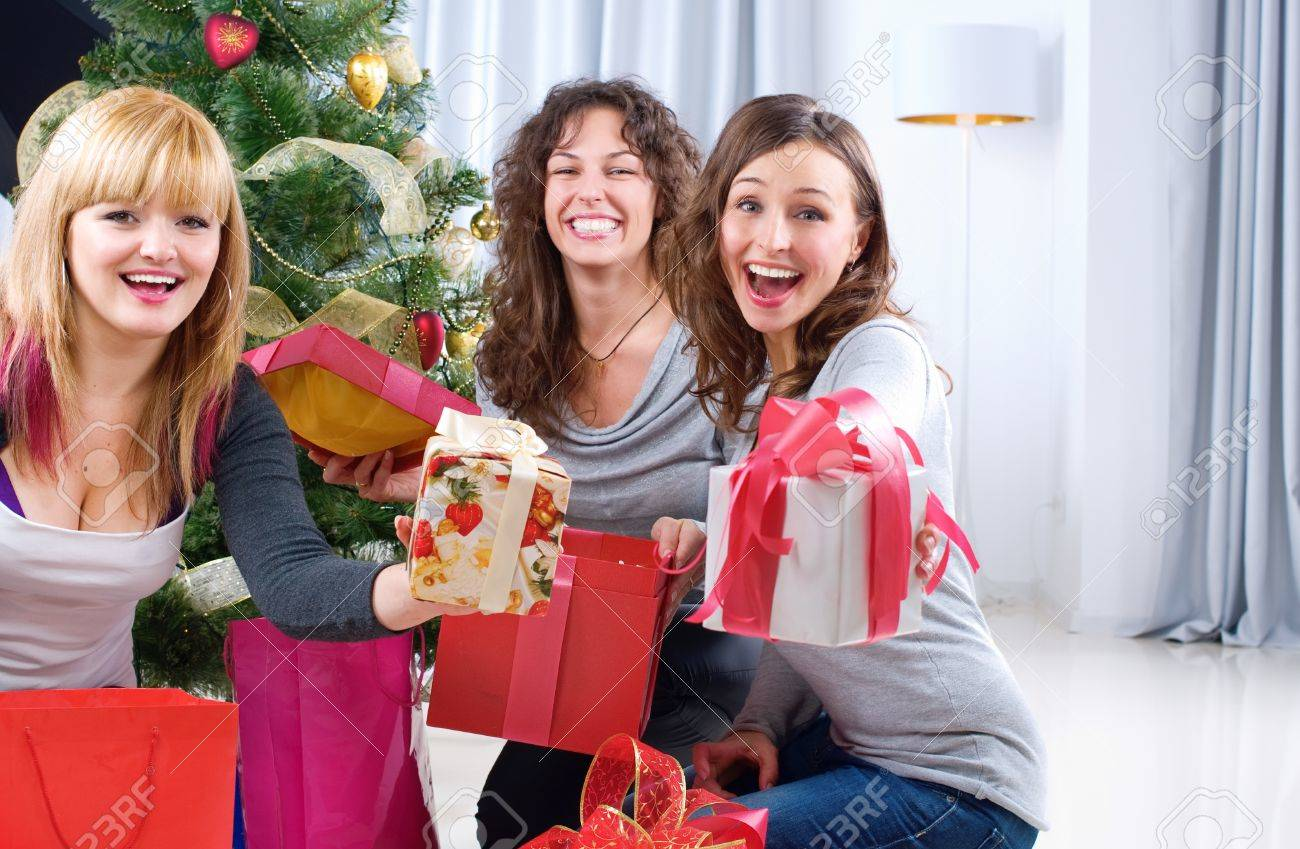 Christmas Party. Friends with Christmas Gifts Stock Photo - 11329969
