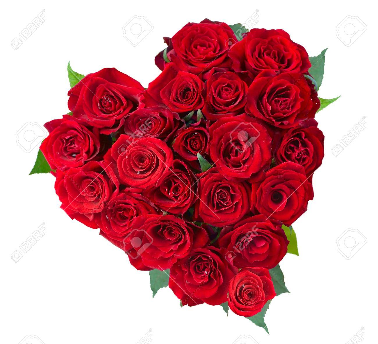 Rose Flowers Heart Over White Valentine Love Stock Photo