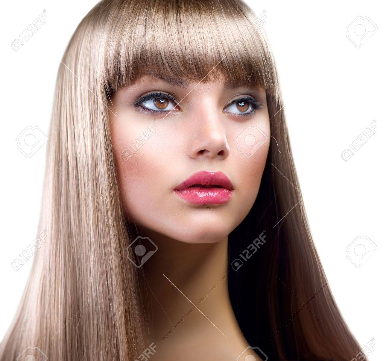 Beautiful Woman With Straight Long Hair Over White Stock Photo - 12382043