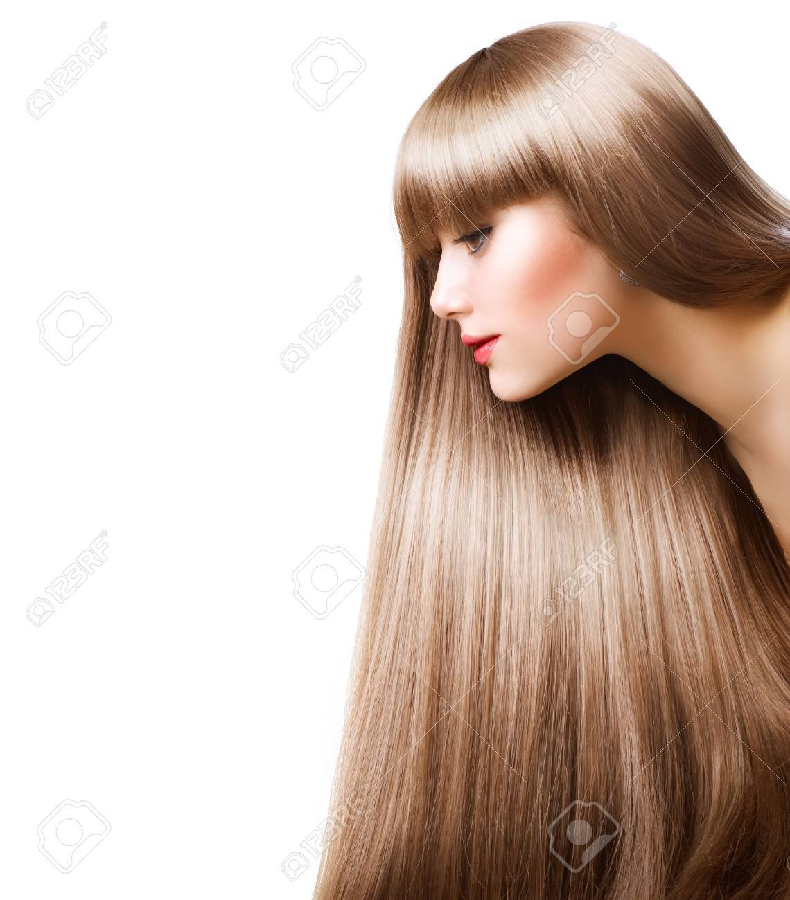Brilliant Beautiful Woman With Straight Long Hair Over White Foto Royalty Short Hairstyles For Black Women Fulllsitofus