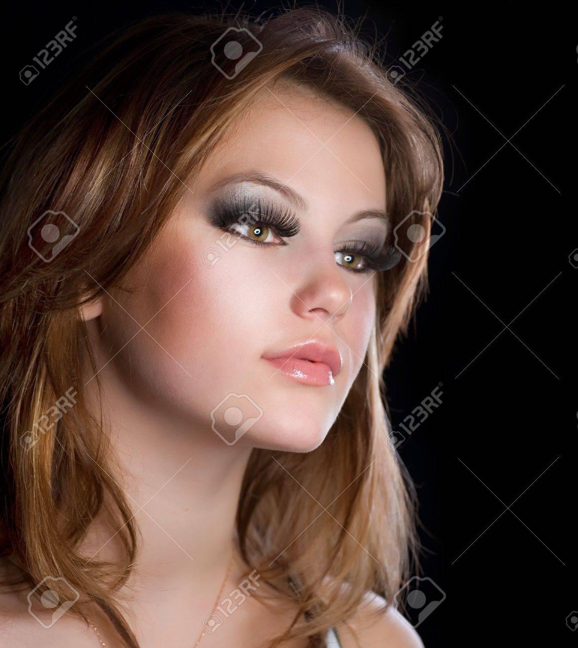 fashion makeup portrait of beautiful with long eyelashes
