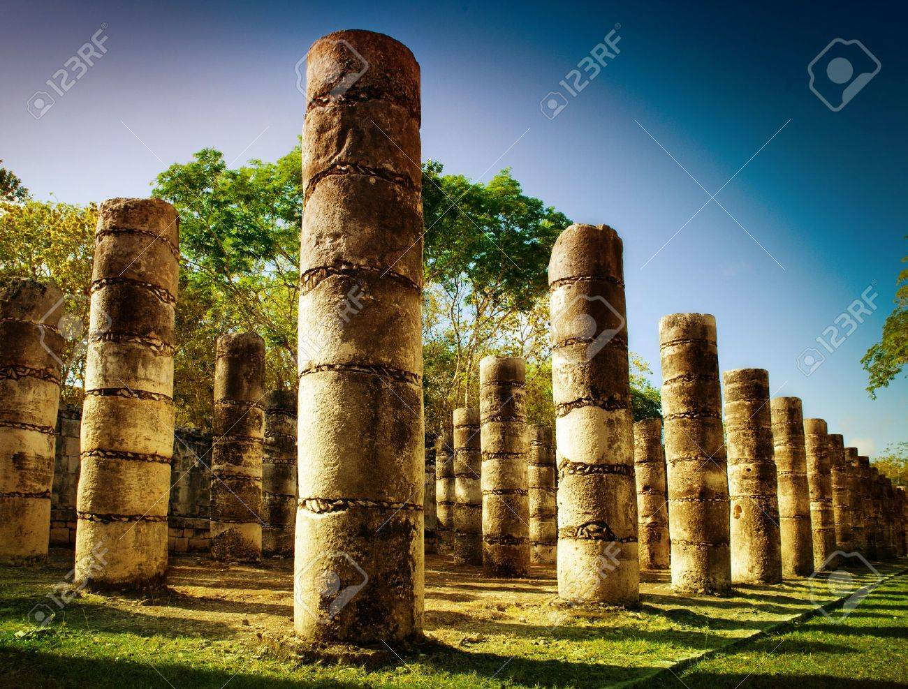 Chichen Itza, Columns in the Temple of a Thousand Warriors - 13549921