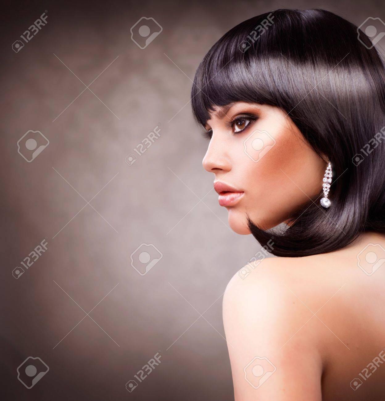 Beautiful Brunette Girl  Haircut  Hairstyle Stock Photo - 14022298