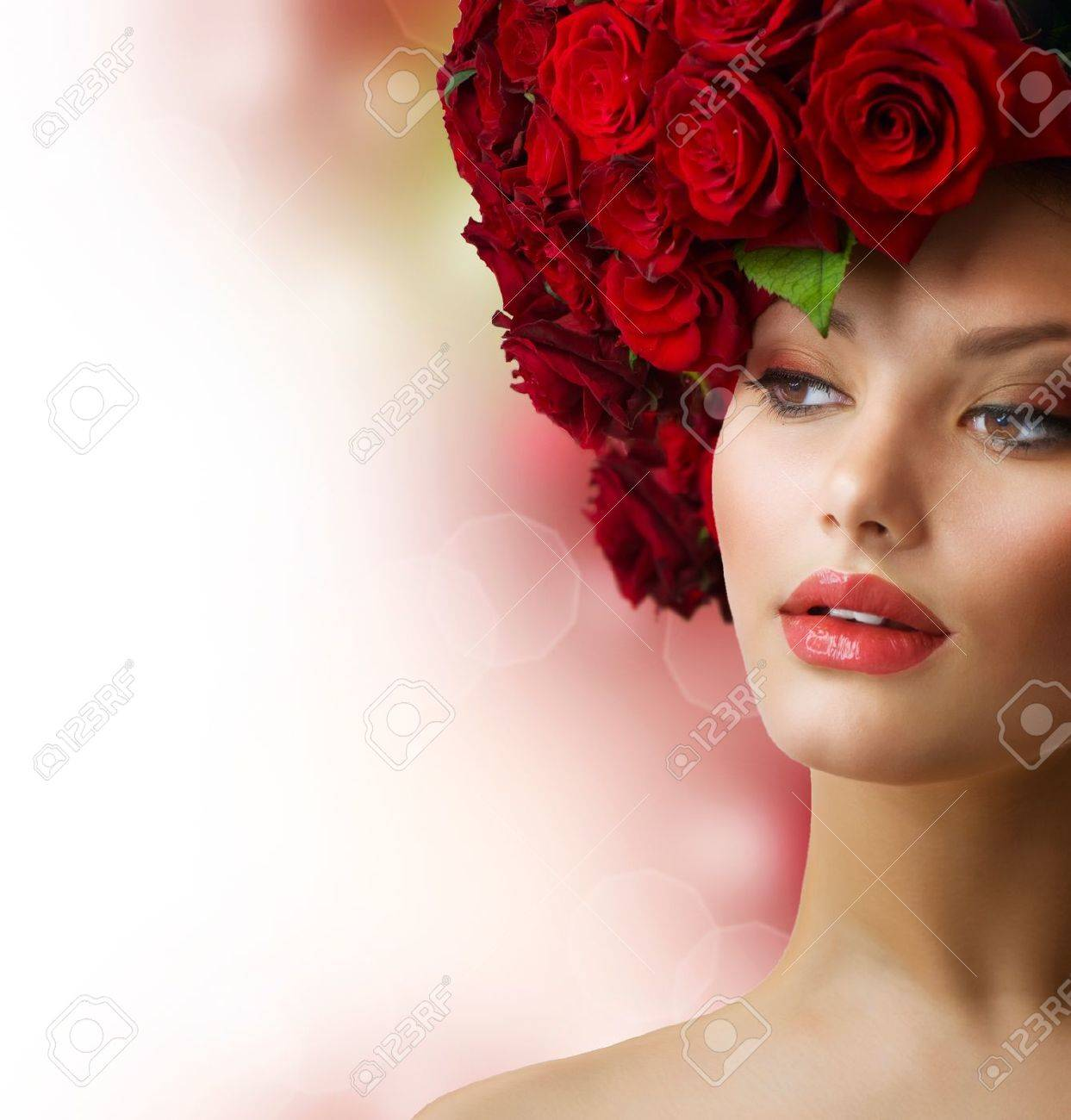 Fashion Model Portrait with Red Roses Hair Stock Photo - 14193548