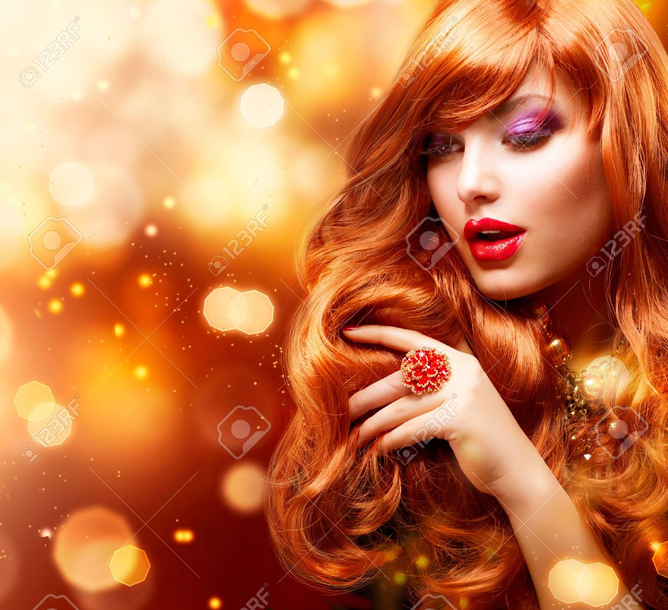 Golden Fashion Girl Portrait  Wavy Red Hair Stock Photo - 14193494