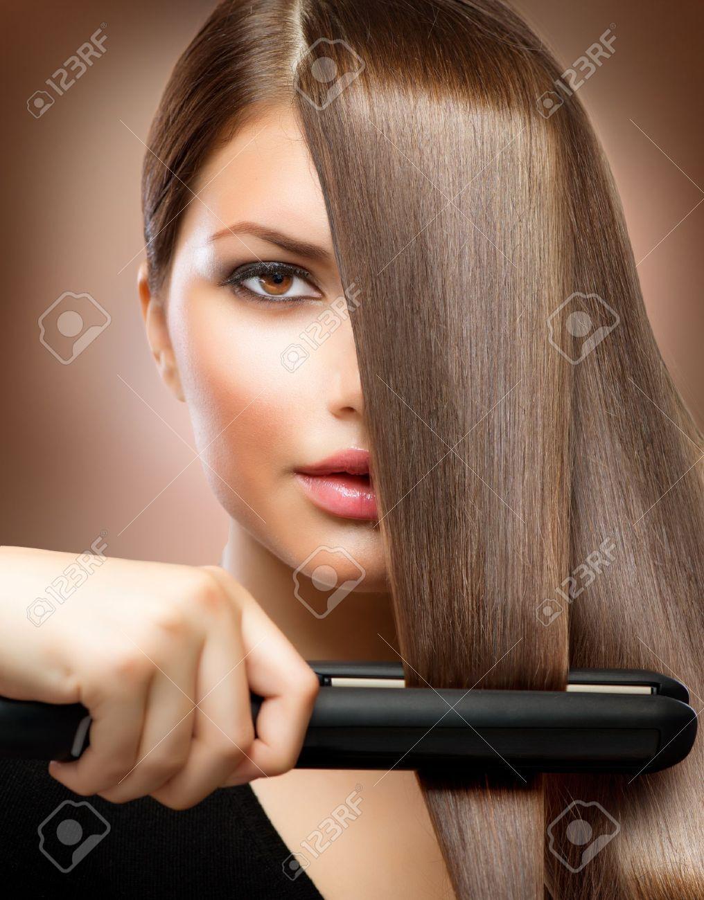 Haarstyling Friseur Haar Glätteisen Glattes Haar Lizenzfreie Fotos