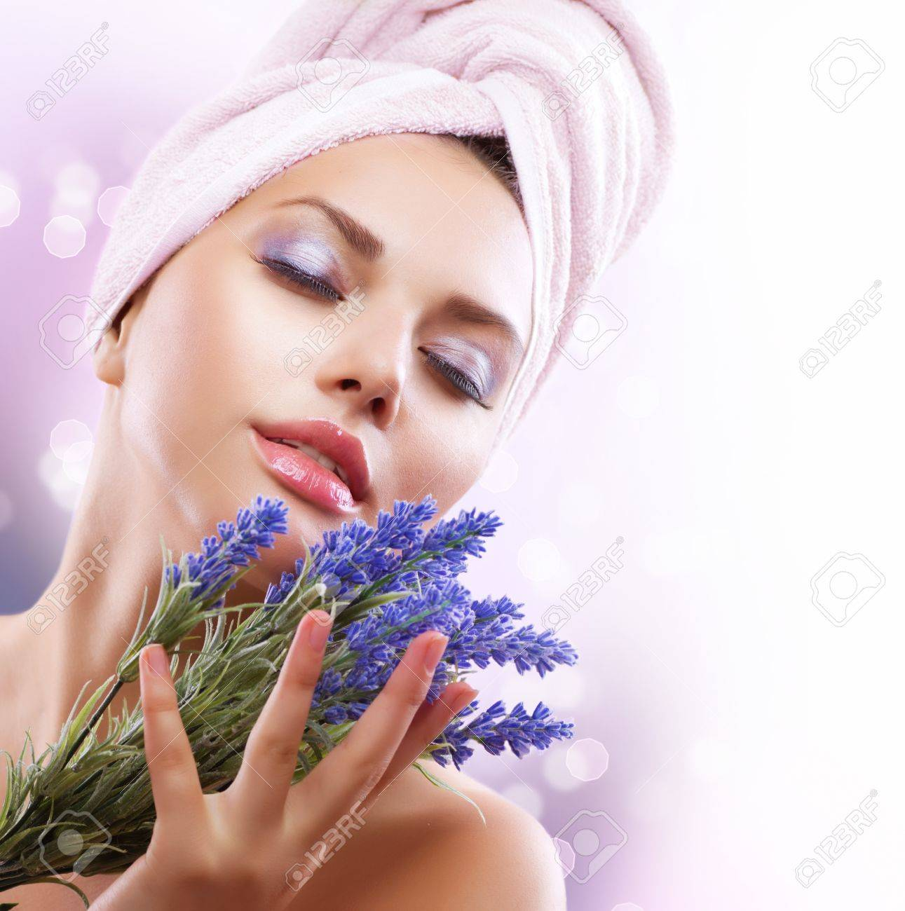 Spa Girl with Lavender Flowers  Beautiful Young Woman After Bath Stock Photo - 14646699