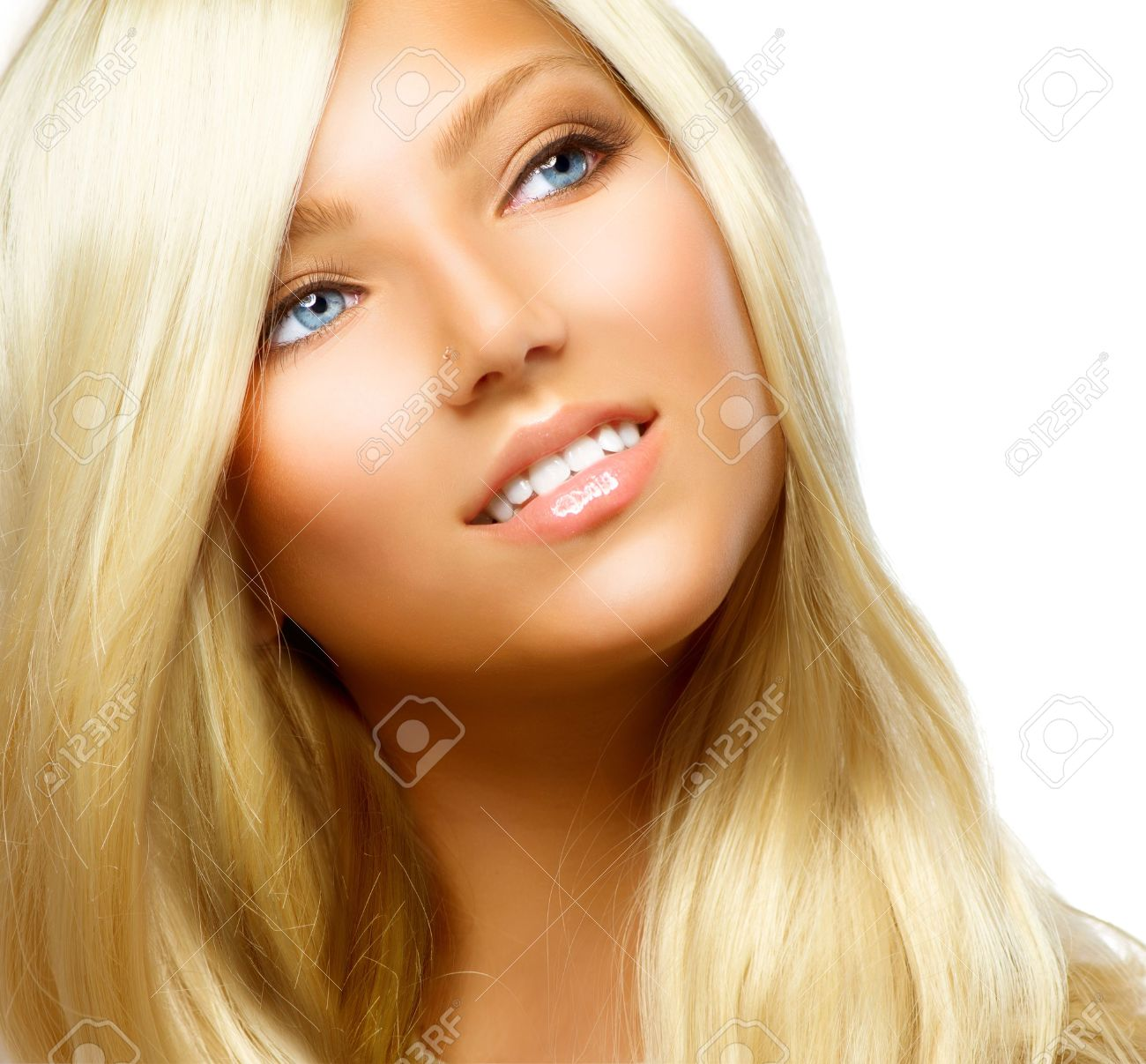 Beautiful Blond Girl isolated on a White Background Stock Photo - 14778947