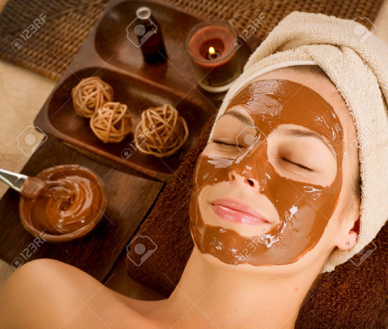 Chocolade Masker Facial Spa Beauty Spa Salon Royalty-Vrije Foto ...