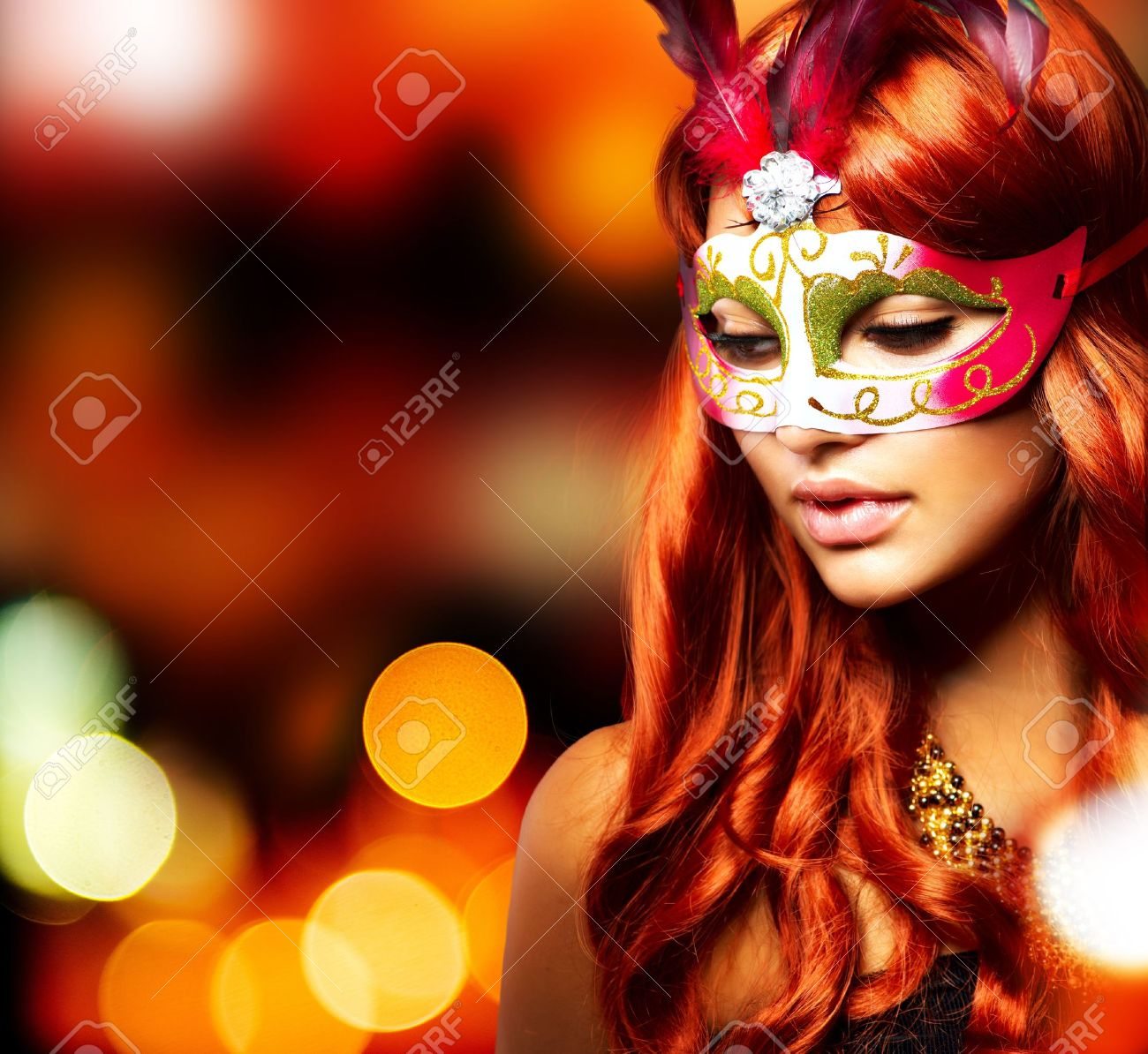 Masquerade Beautiful Girl in a Carnival mask - 15227207