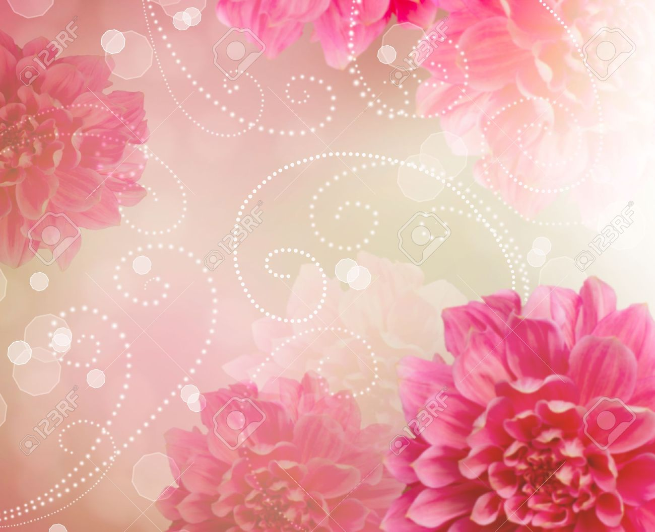 Flowers Abstract Design Art Background Floral Wallpaper Stock