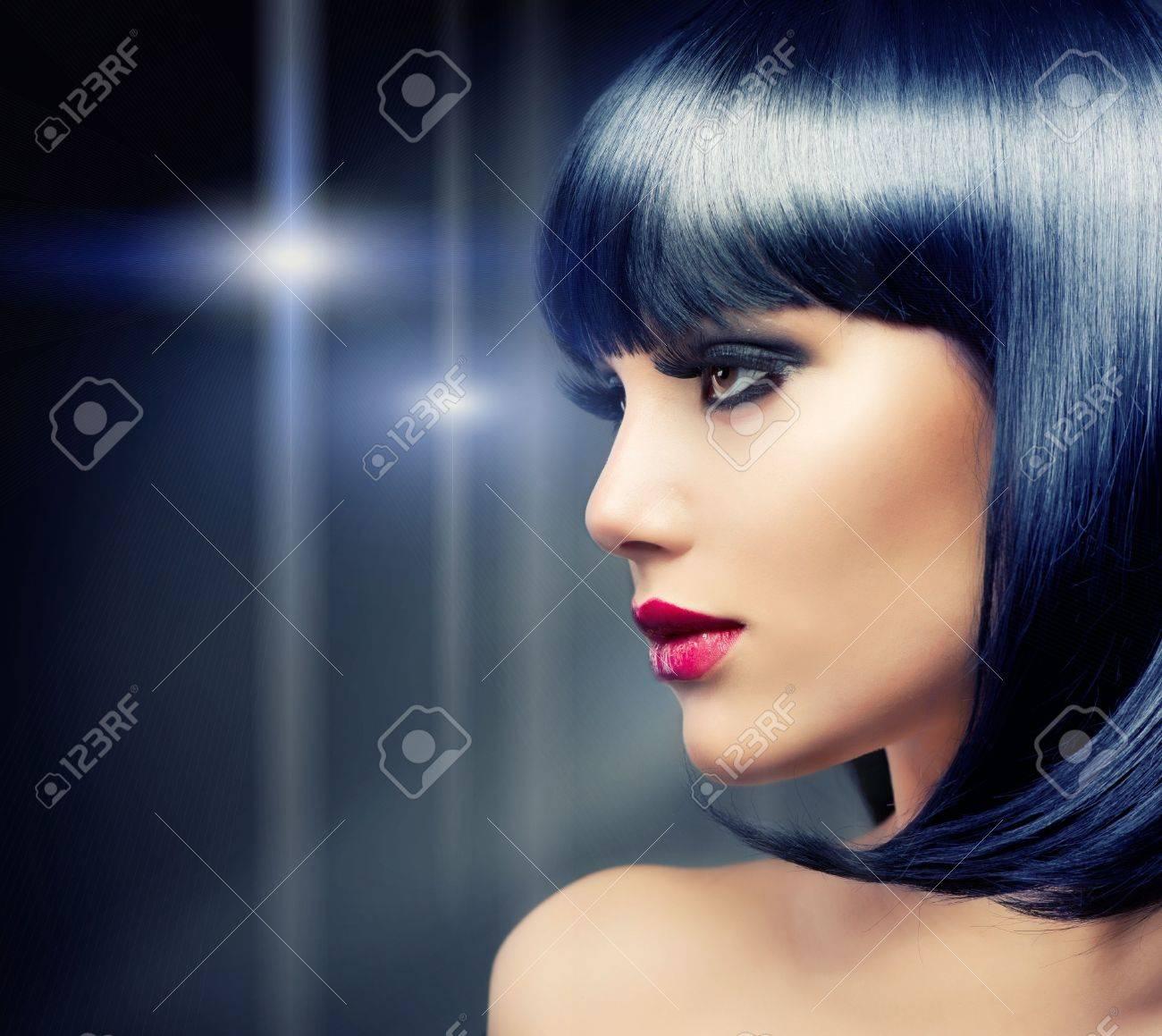 Beautiful Brunette Girl  Healthy Black Hair Stock Photo - 15658076