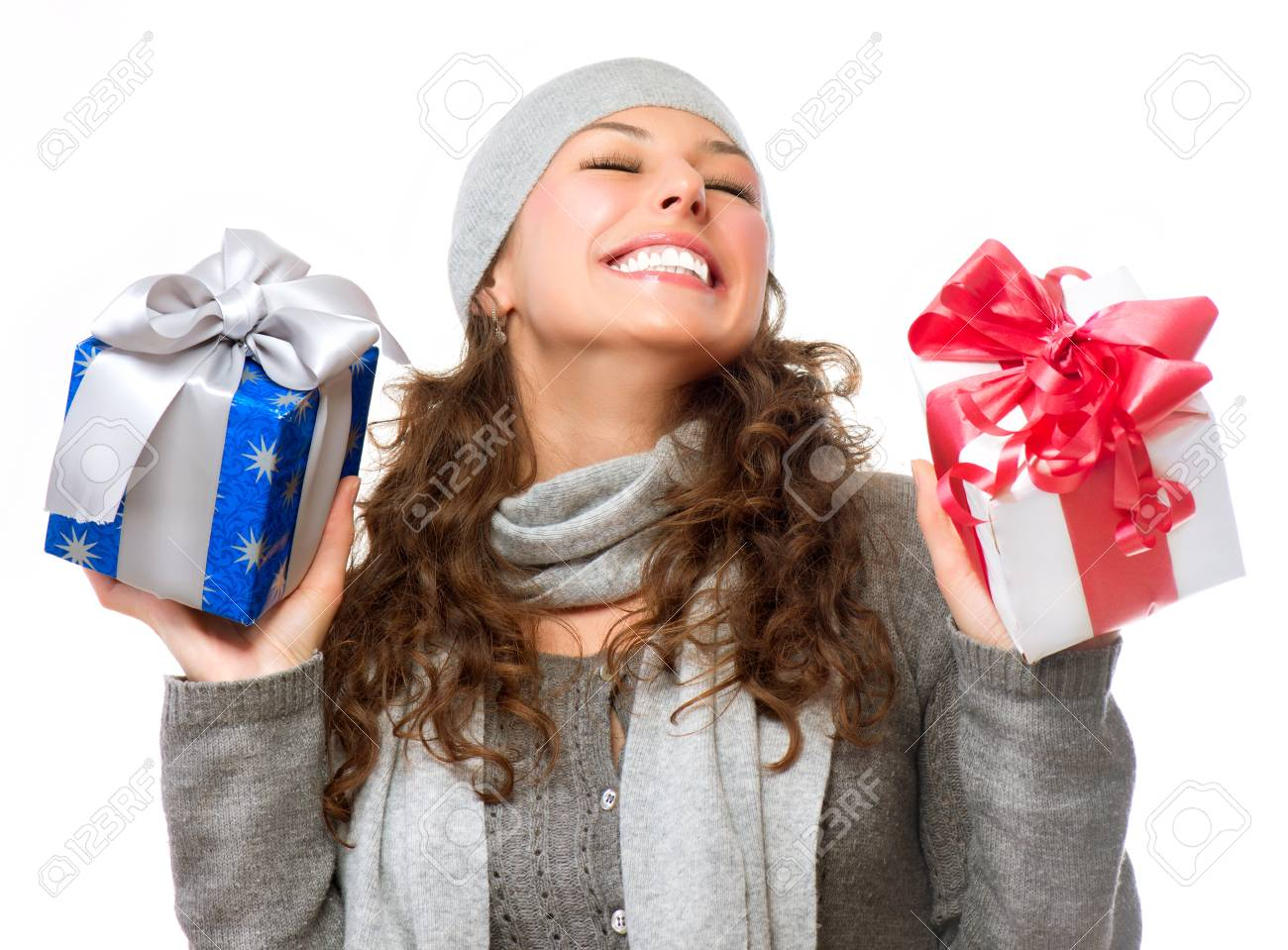 Happy Young Woman With Christmas Gifts Gift Box Stock Photo, Picture ...