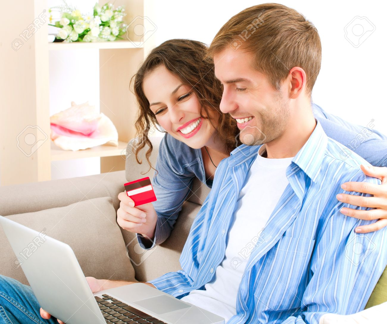 Online Shopping  Couple Using Credit Card to Internet Shop Stock Photo - 16052329