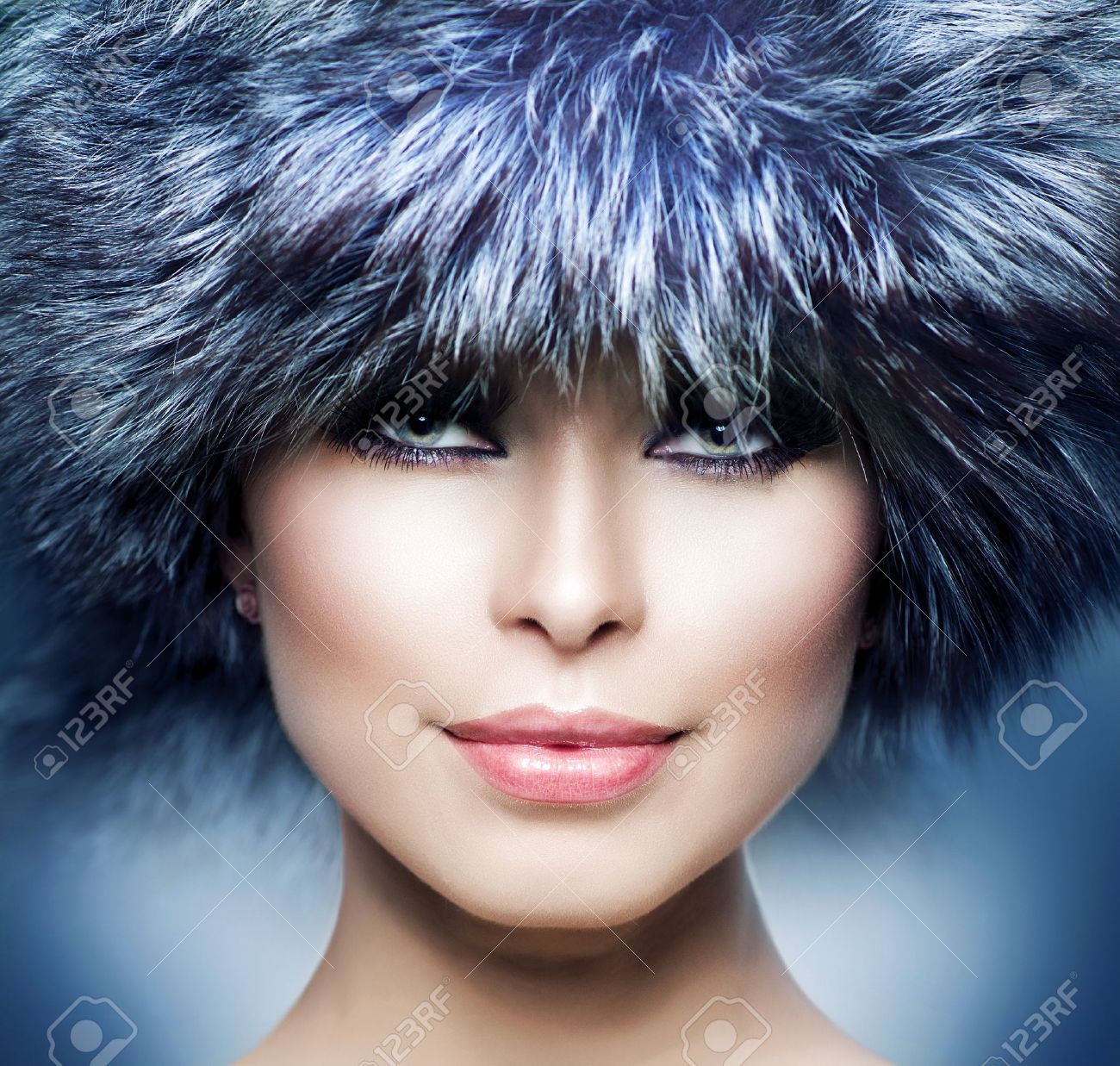 Fashion  Beautiful Girl in Fur Hat  Winter Woman Stock Photo - 16216708