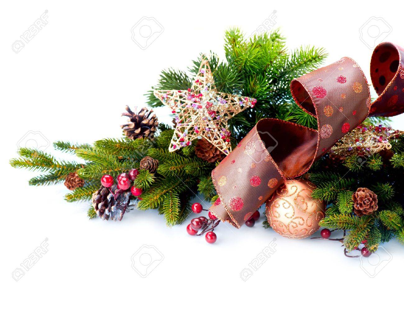 Hristmas Decoration Holiday Decorations Isolated On White Stock ...