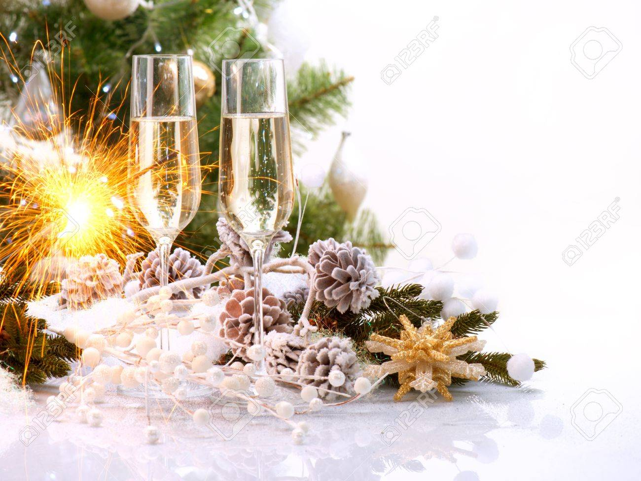 new year card design with champagne christmas celebration stock photo 16311426