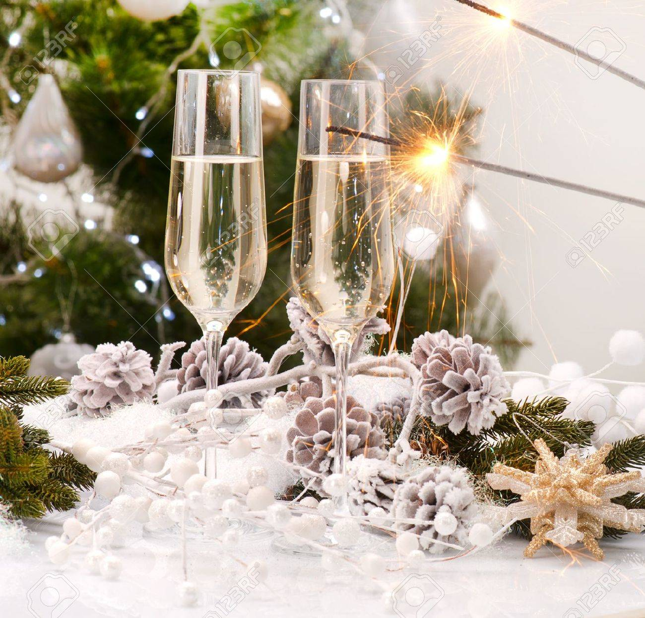 new year card design with champagne christmas celebration stock photo 16311419