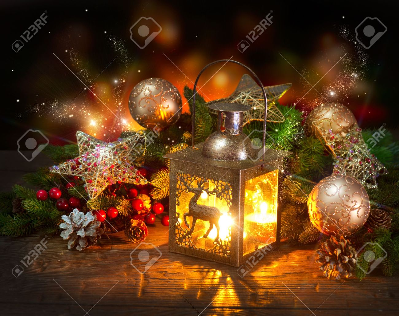 Christmas Scene Holiday Greeting Card Design Stock Photo Picture