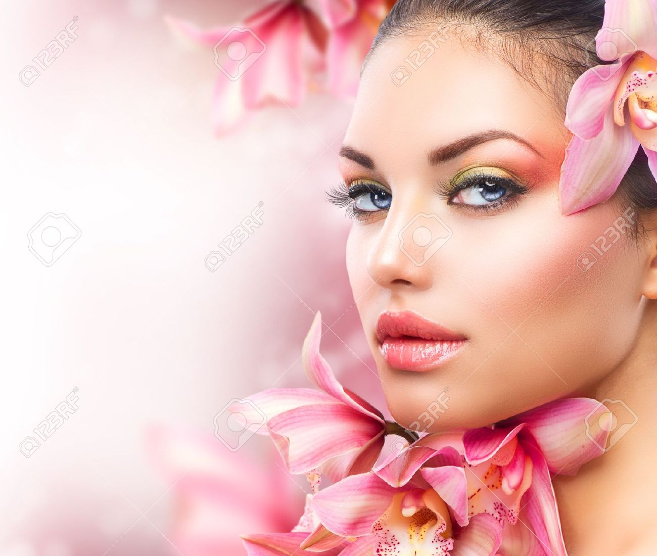 Beautiful Girl With Orchid Flowers  Beauty Woman Face Stock Photo - 16472446