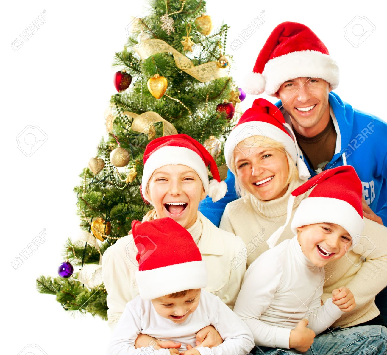 Happy Christmas Family  Big Family with Kids Stock Photo - 16590174