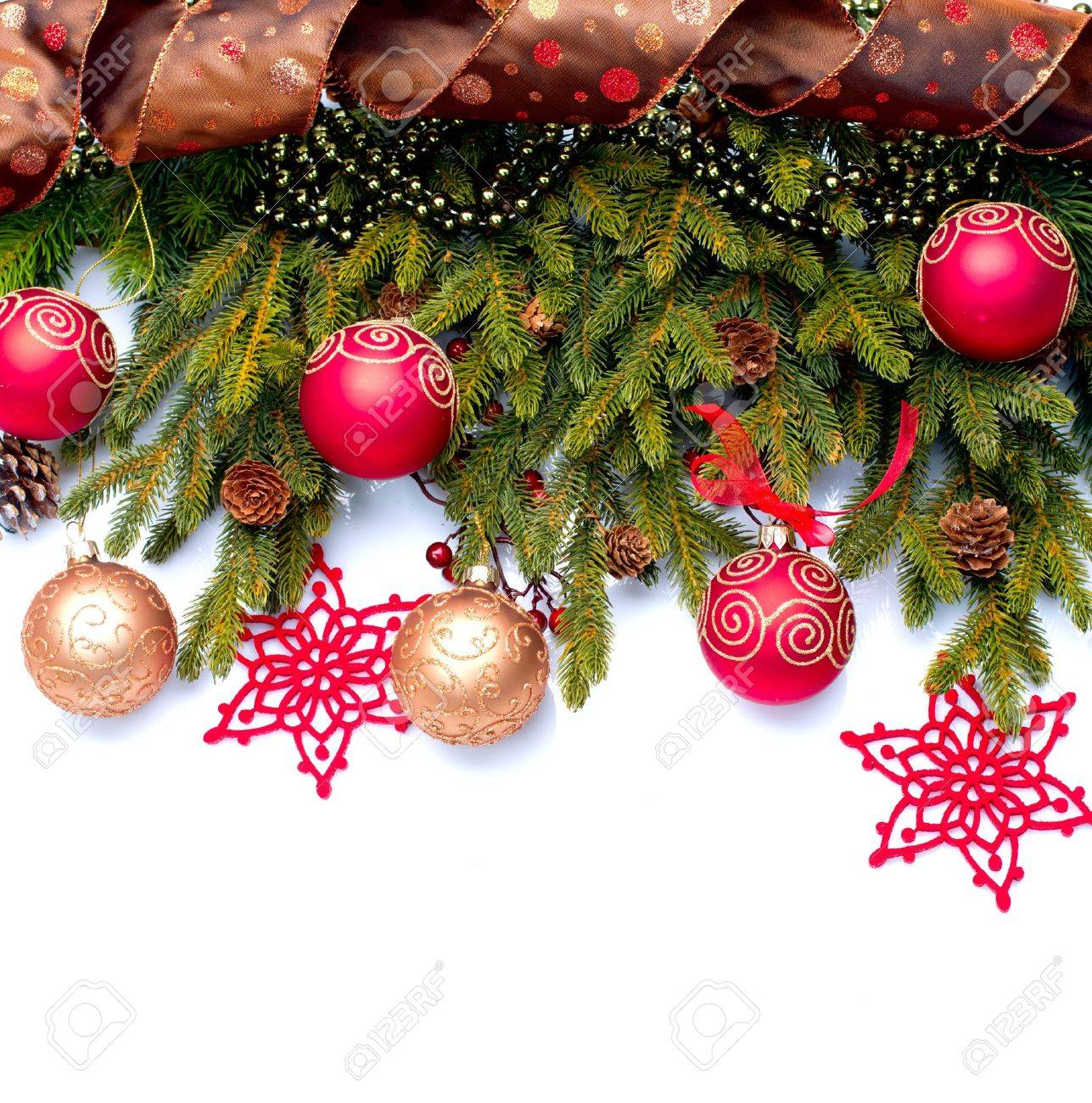 Christmas Decoration  Holiday Decorations Isolated on White Stock Photo - 16590135