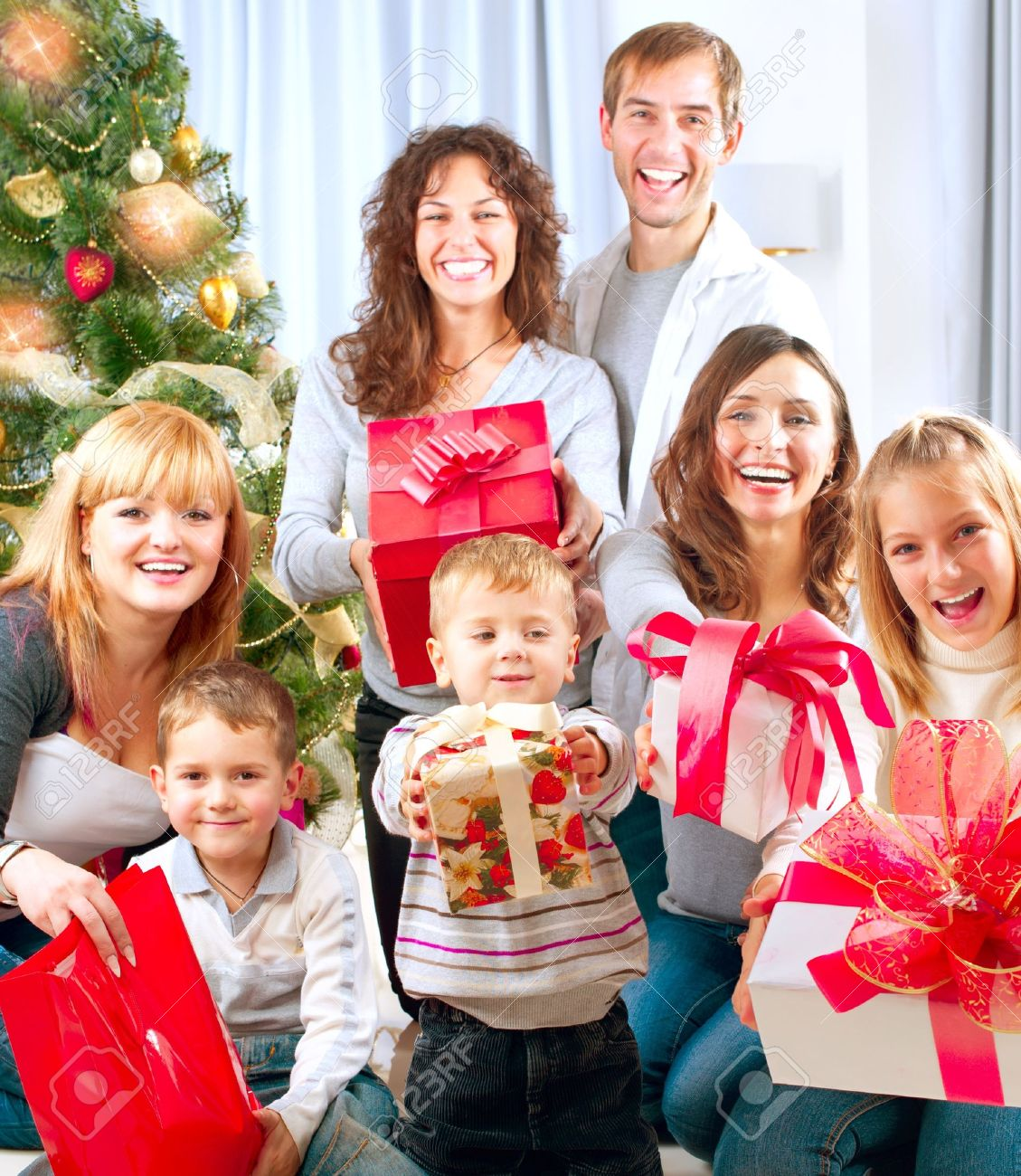 Happy Big Family With Christmas Gifts At Home Stock Photo, Picture ...