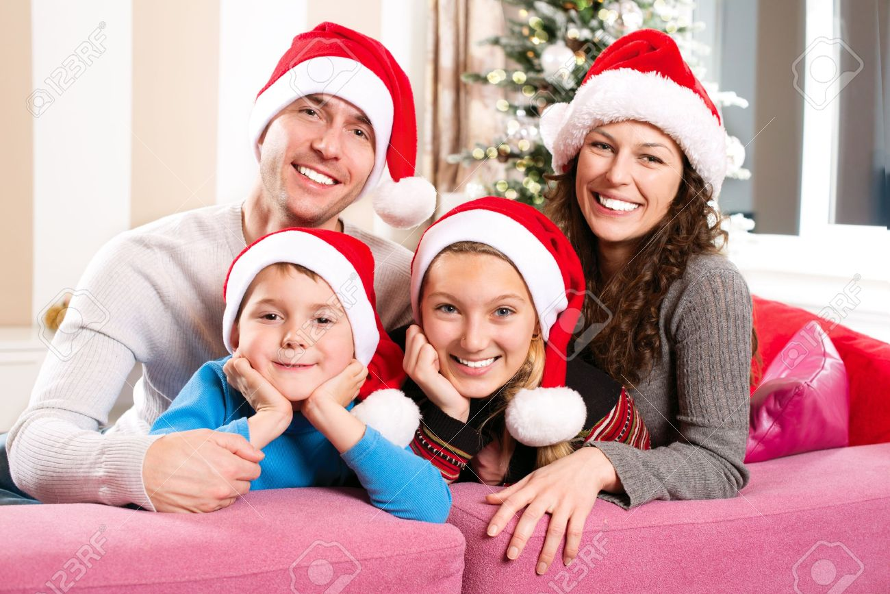 Christmas Family Photo Christmas Family With Kids Happy Smiling Parents And Children