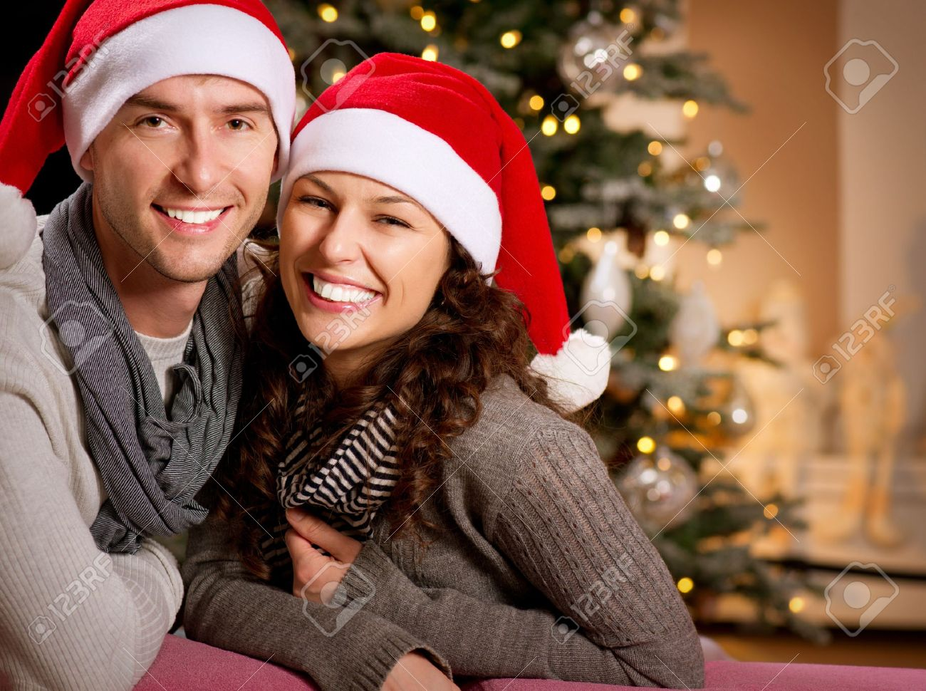 Christmas Happy Couple At Home Celebrating Christmas Stock Photo ...