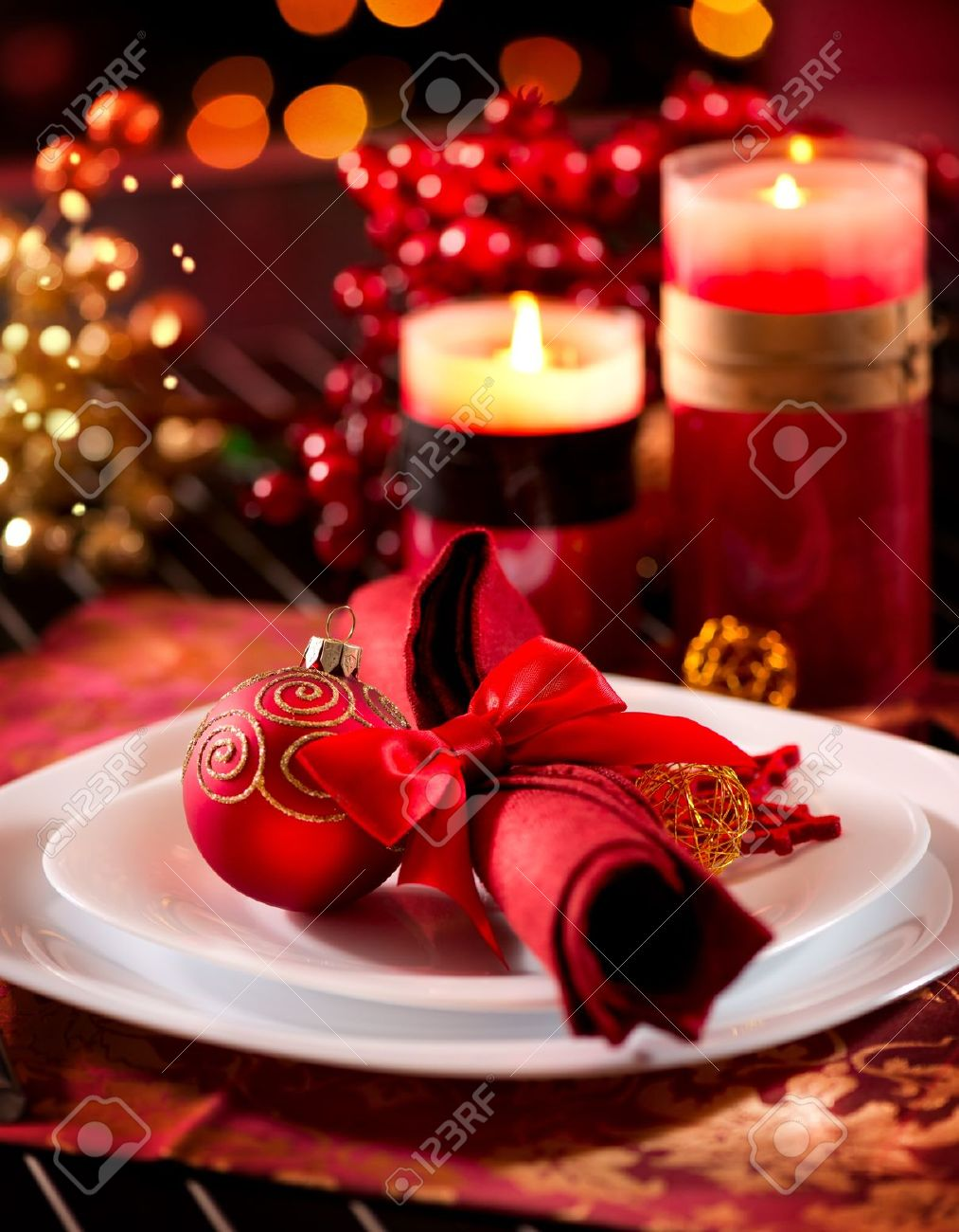 Christmas Table Setting Holiday Decorations Stock Photo, Picture ...