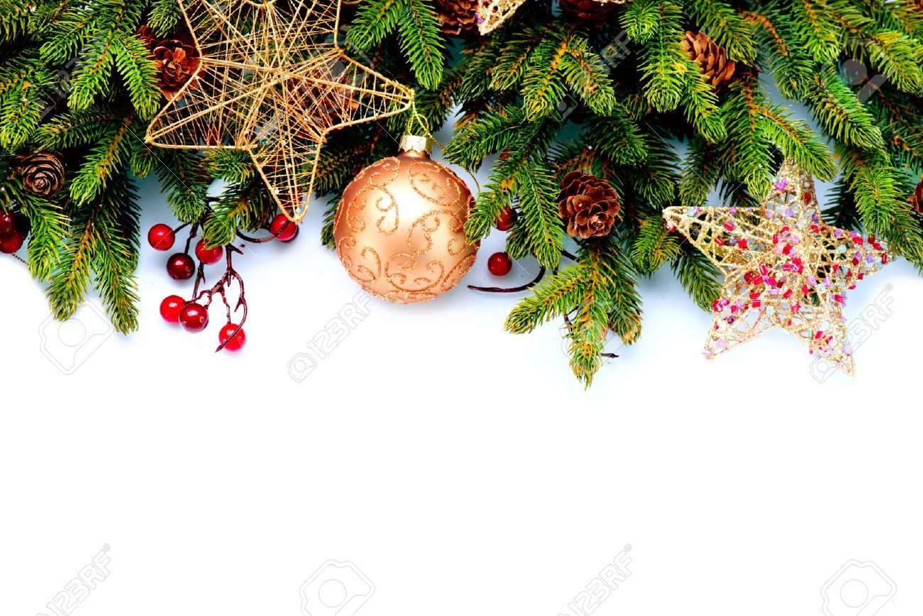 Christmas Decorations Isolated On White Background Christmas.. Stock ...