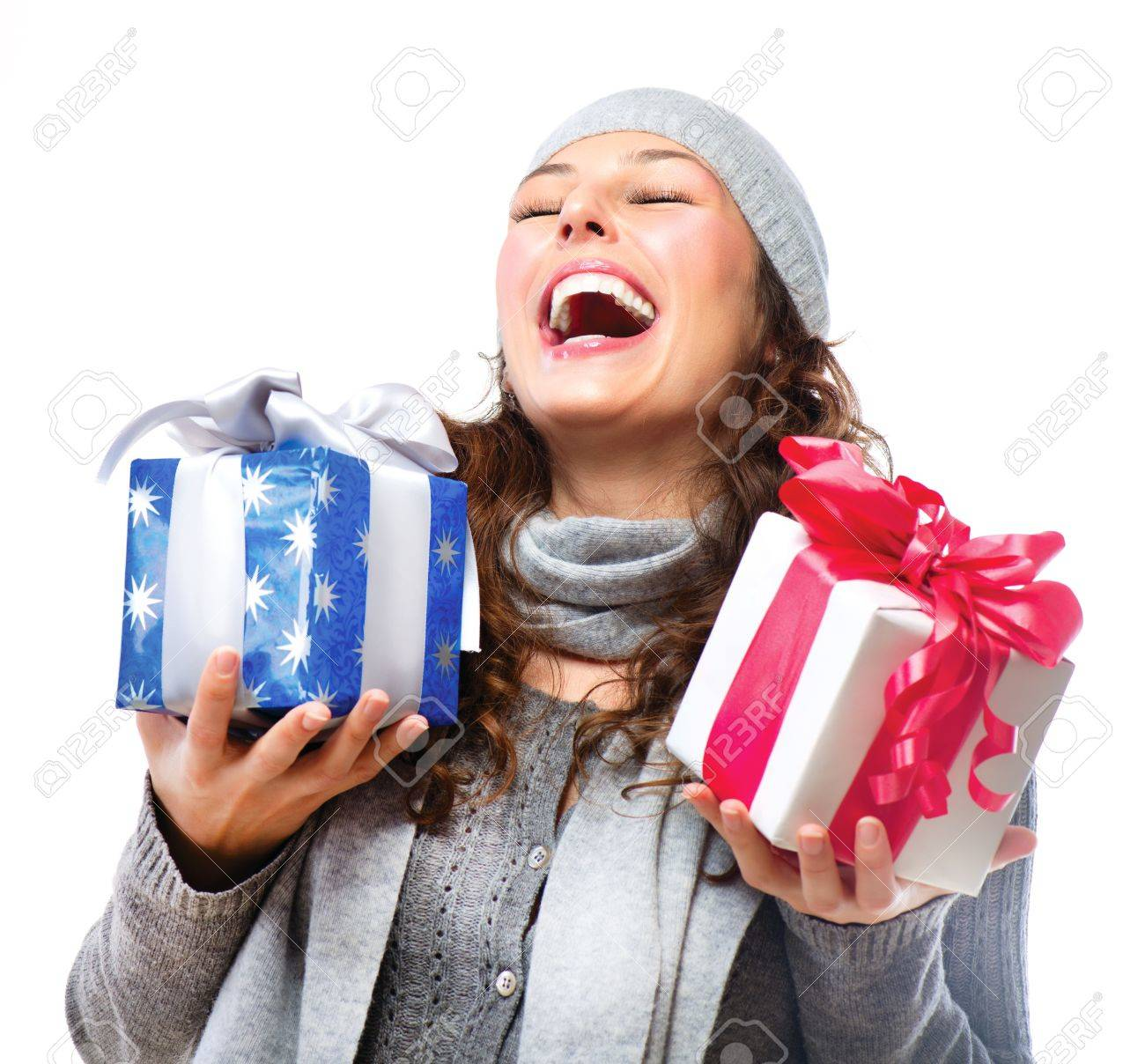 Happy Young Woman With Christmas Gifts  Gift Box Stock Photo - 16854713