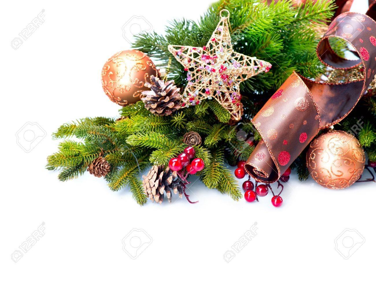 Christmas Decoration  Holiday Decorations Isolated on White Stock Photo - 16825547