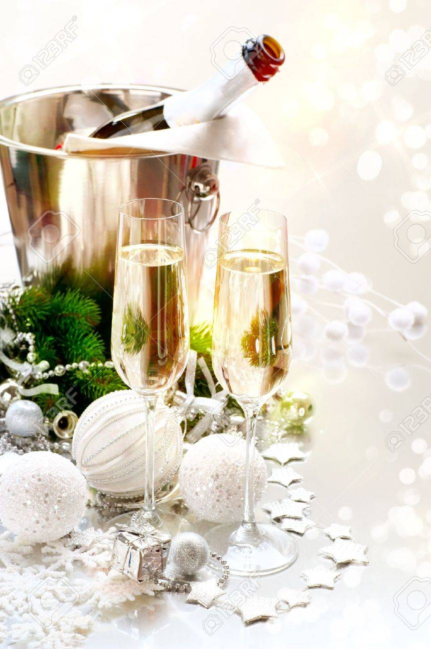 New Year Celebration  Two Champagne Glasses Stock Photo - 17384206