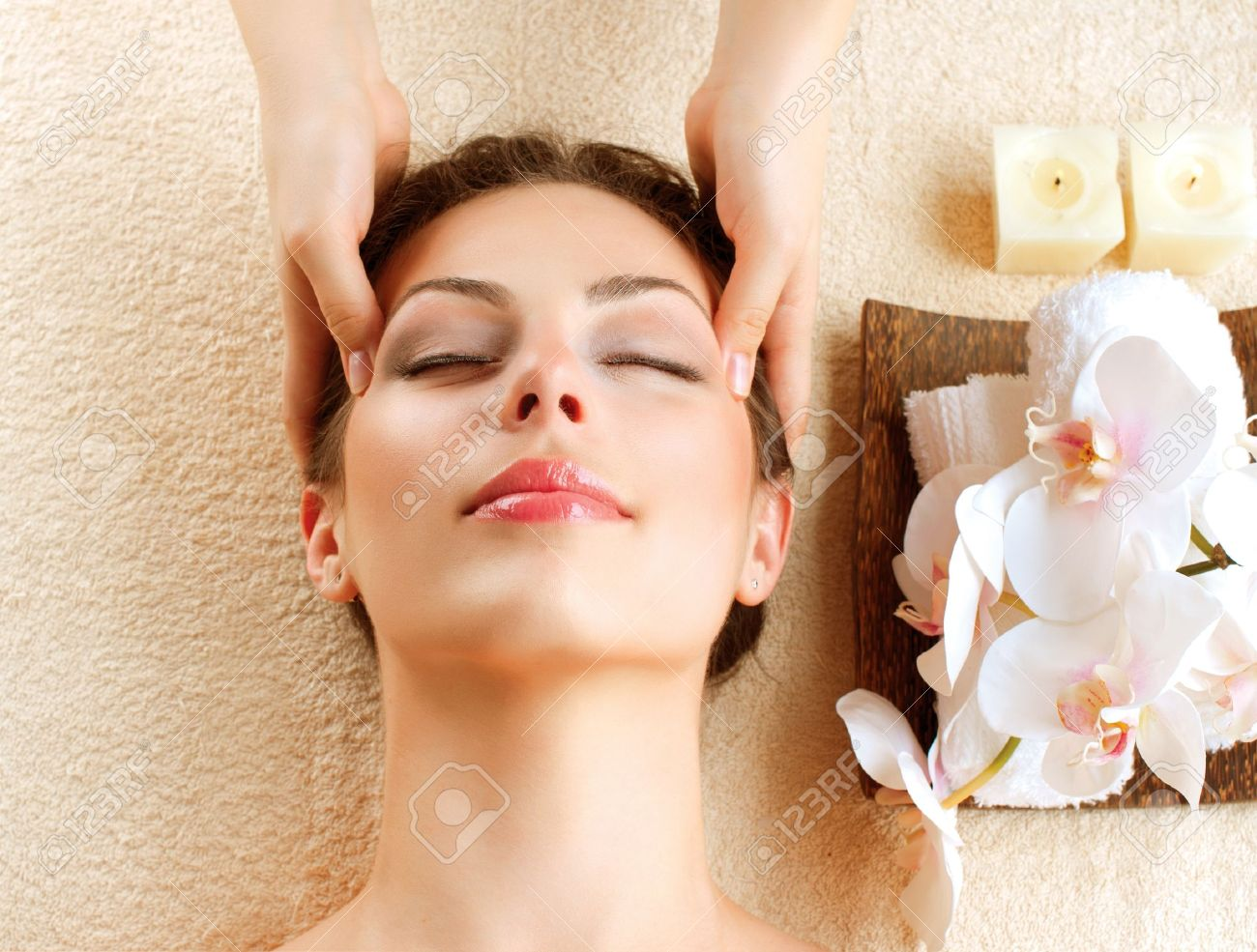 Spa Massage  Young Woman Getting Facial Massage Stock Photo - 17416396
