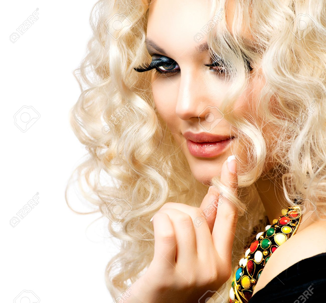 Beautiful Girl with Curly Blond Hair isolated on White Stock Photo - 17384051