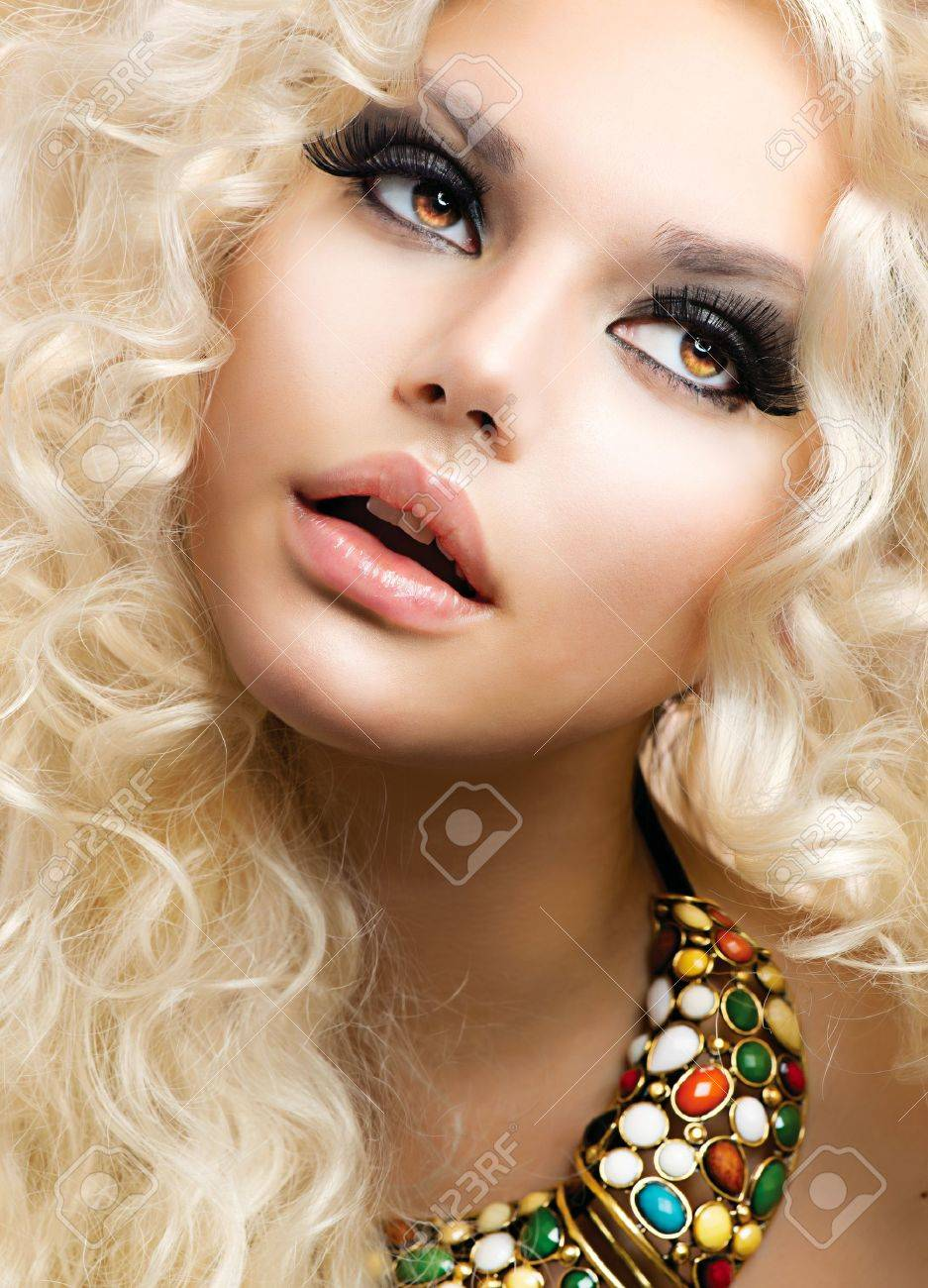 Beautiful Girl with Curly Blond Hair Stock Photo - 17383879