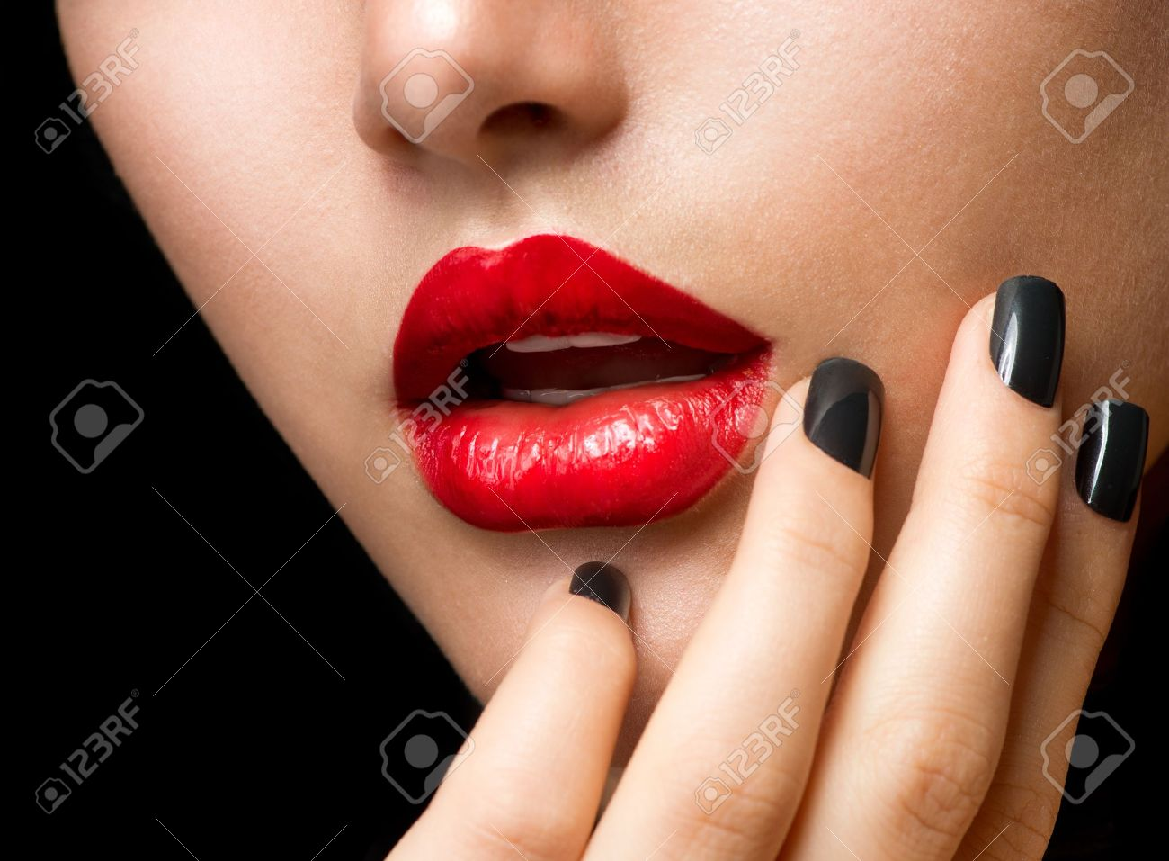 Makeup and Manicure  Black Nails and Red Lips Stock Photo - 17535776
