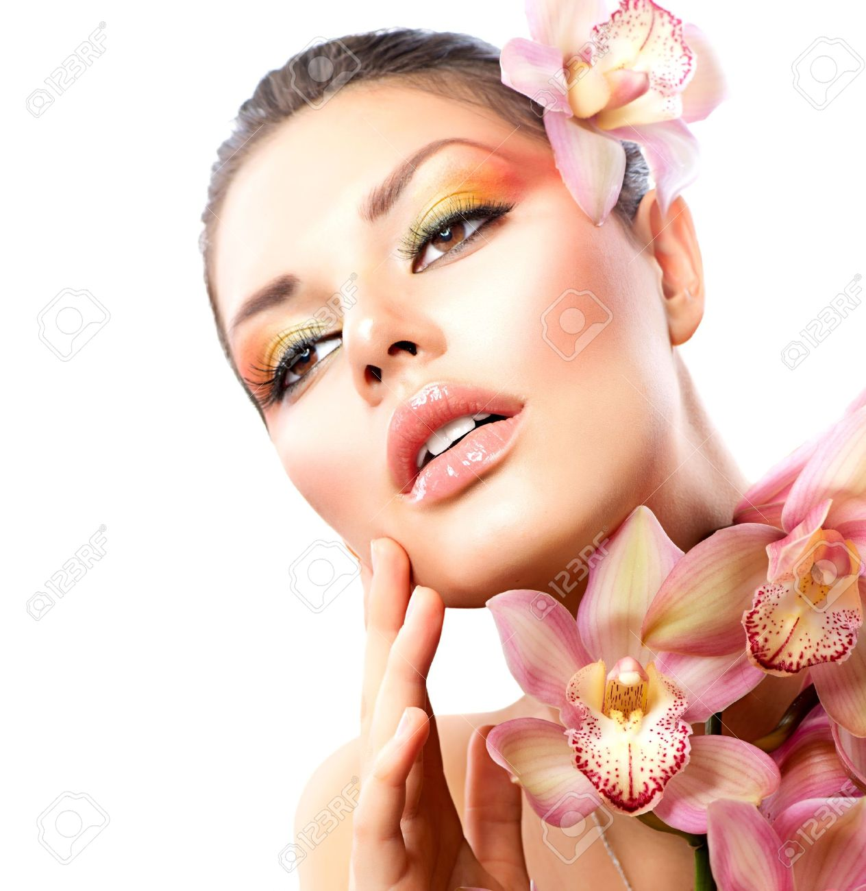 Beautiful Spa Girl With Orchid Flowers Isolated on White Stock Photo - 17535814
