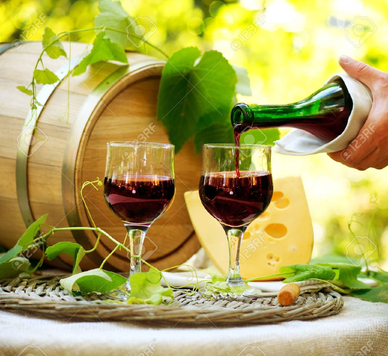 Red Wine and Cheese Romantic Lunch Outdoor - 17508988