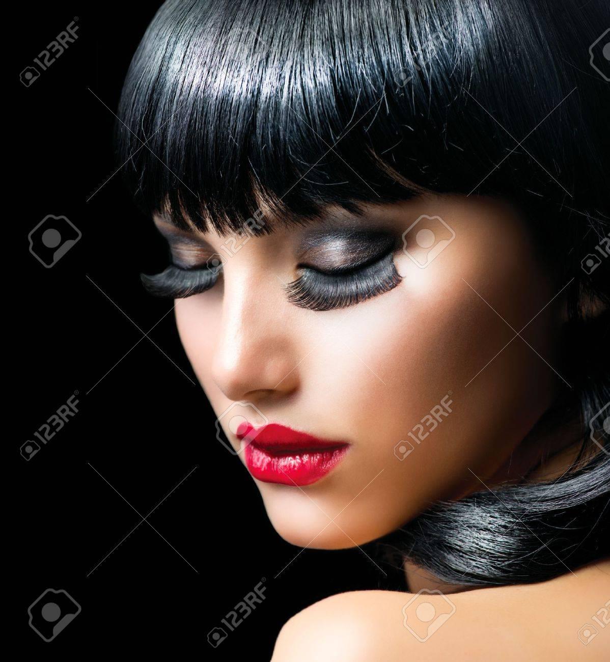 Fashion Brunette Girl Portrait close-up Stock Photo - 17602620