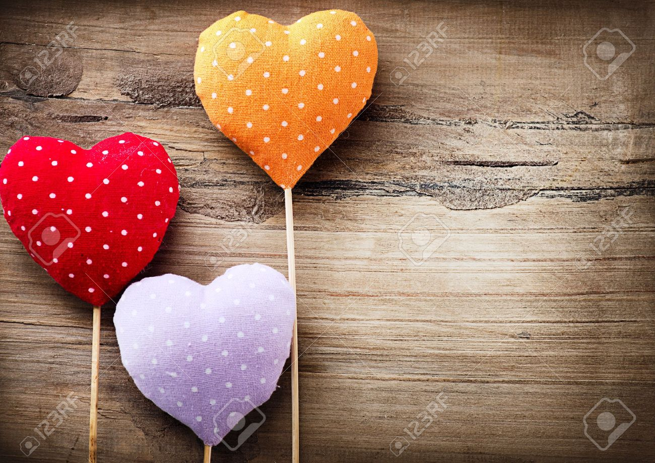 Valentines Vintage Handmade Hearts over Wooden Background Stock Photo - 17603185
