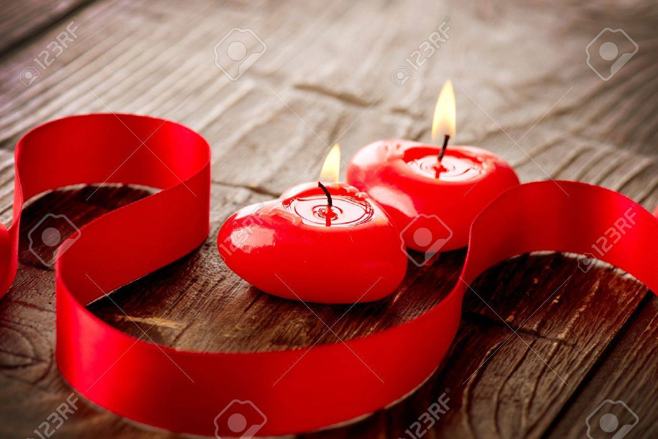 Valentines Hearts Candles over Wood  Valentine s Day Stock Photo - 17771912