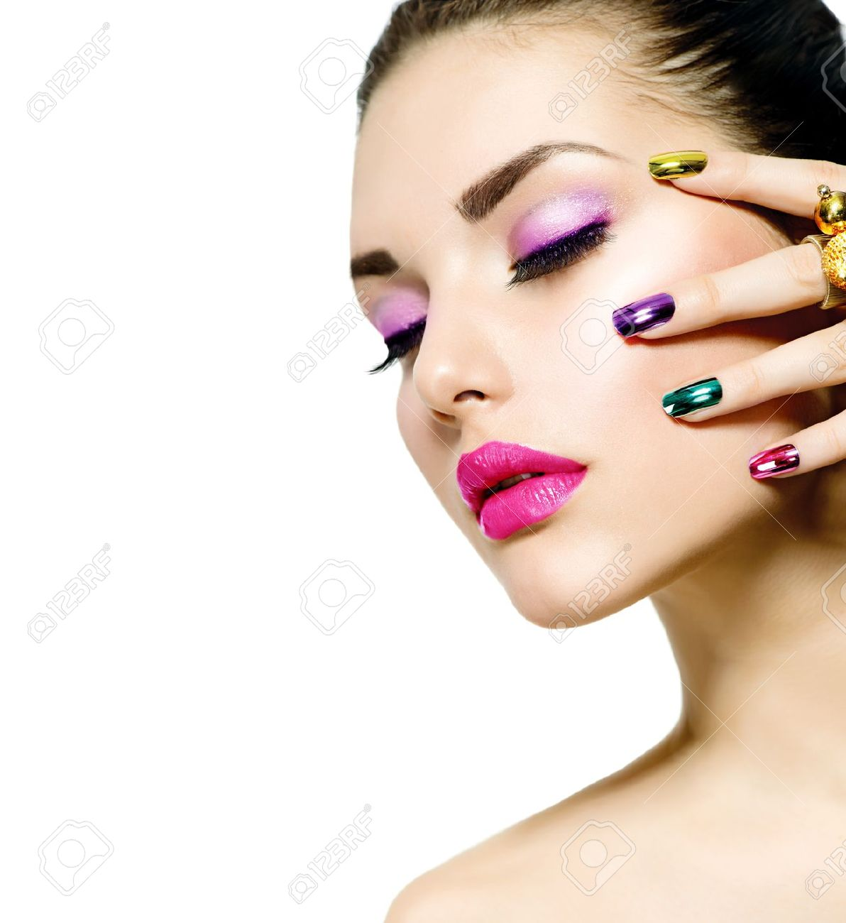 Fashion Beauty Manicure And Make-up Nail Art Stock Photo, Picture ...
