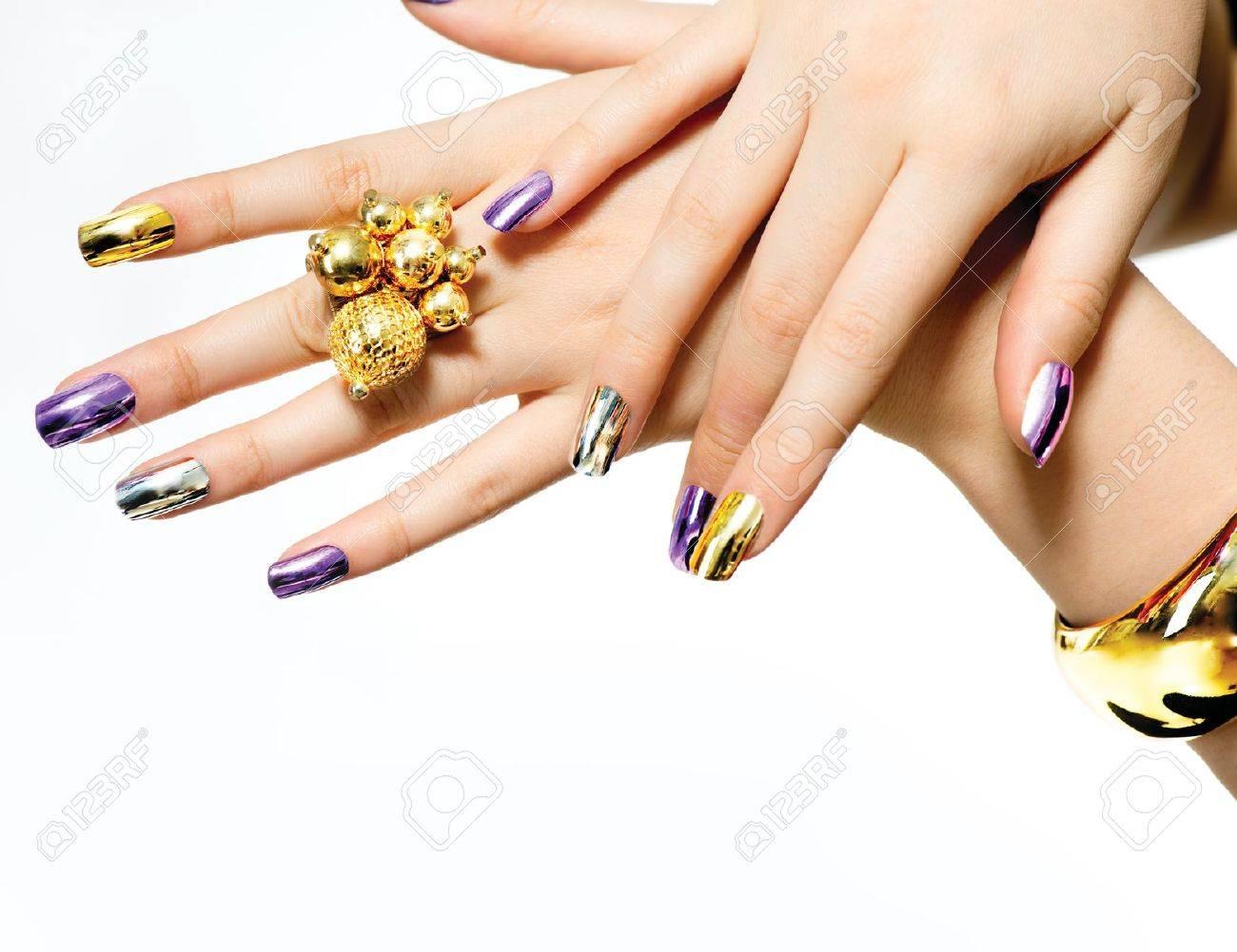 Manicure Fashion Metallic Nail Polish Stock Photo, Picture And ...