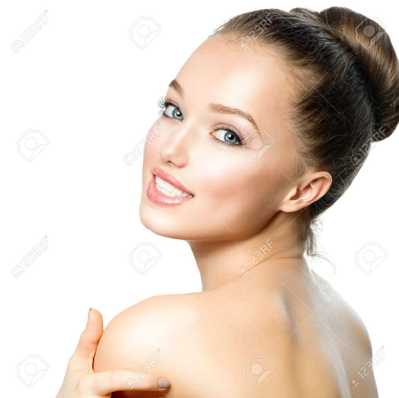 Portrait of Beautiful Young Woman with Fresh Clean Skin Stock Photo - 18294912