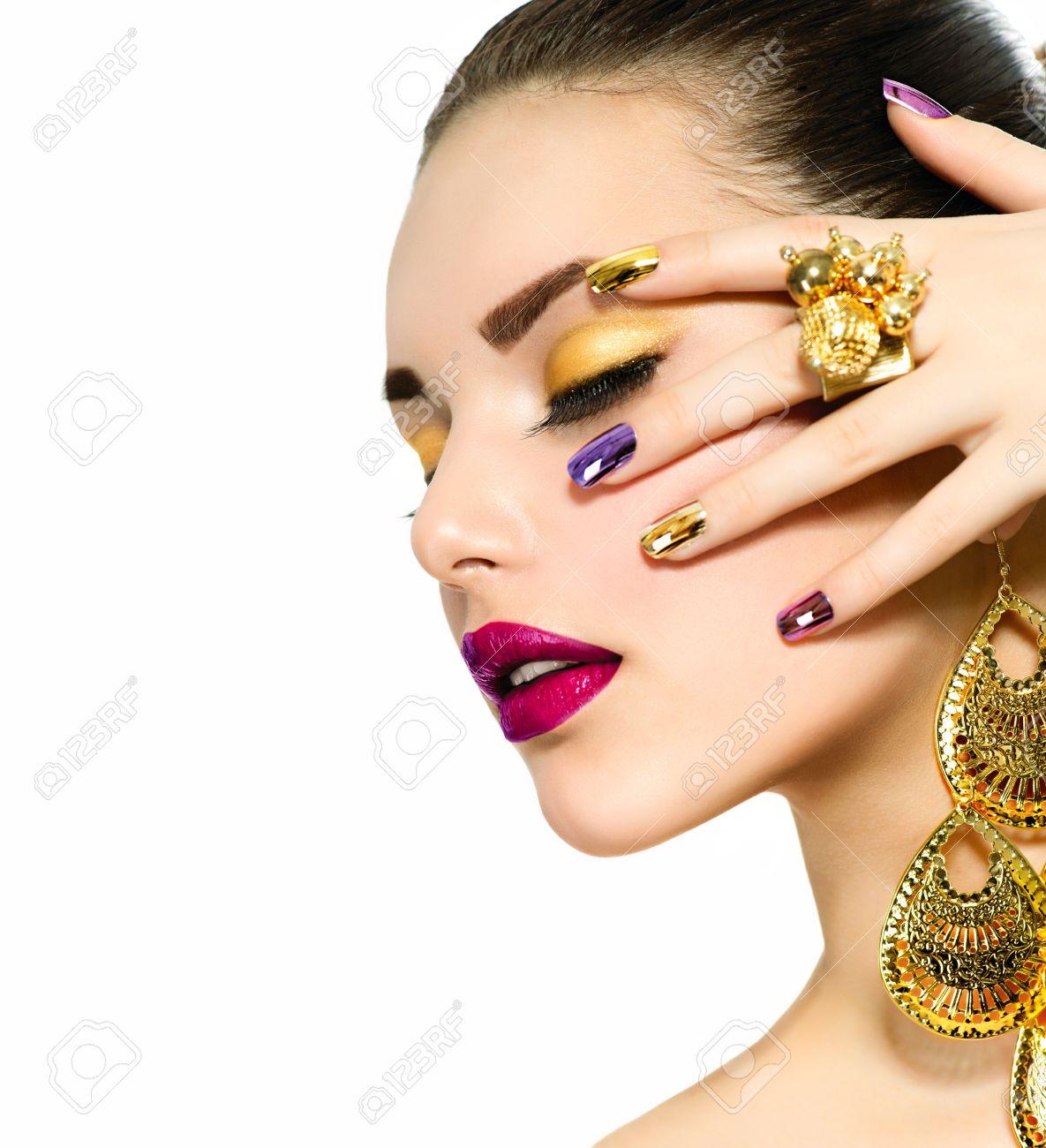 Fashion Beauty Manicure And Make Up Nail Art Stock Photo Picture