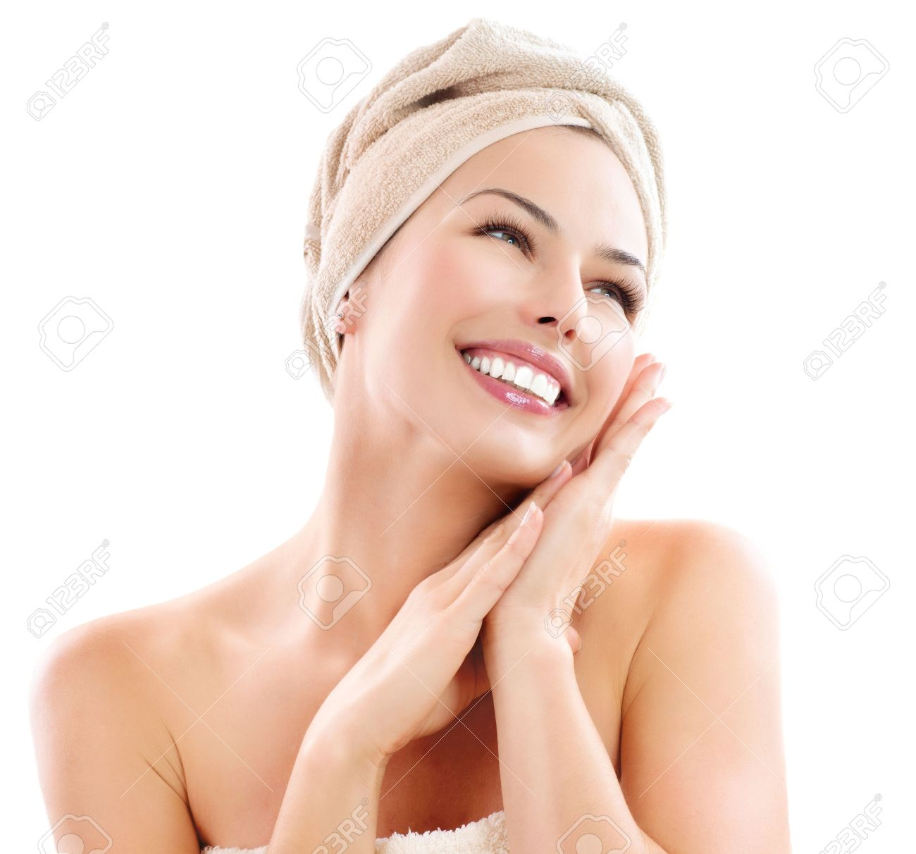 Beautiful Girl After Bath Touching Her Face Skincare Stock Photo Picture And Royalty Free Image Image 18693533