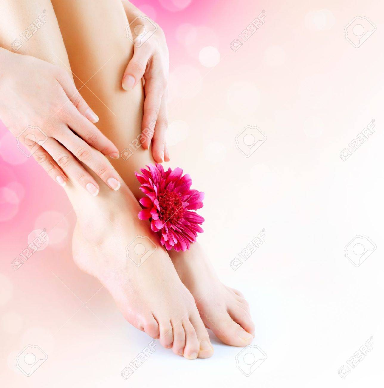 Woman s Feet and Hands  Manicure and Pedicure concept Stock Photo - 18696816